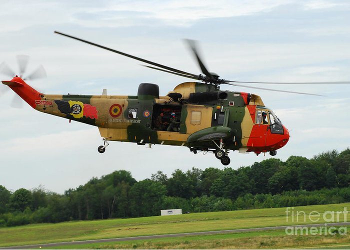 Adults Only Greeting Card featuring the photograph The Sea King Helicopter Of The Belgian by Luc De Jaeger