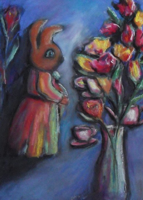 Interior Greeting Card featuring the pastel The Visitors by Charles Wells