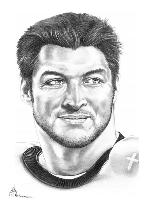 Drawing Greeting Card featuring the drawing Tim Tebow by Murphy Elliott