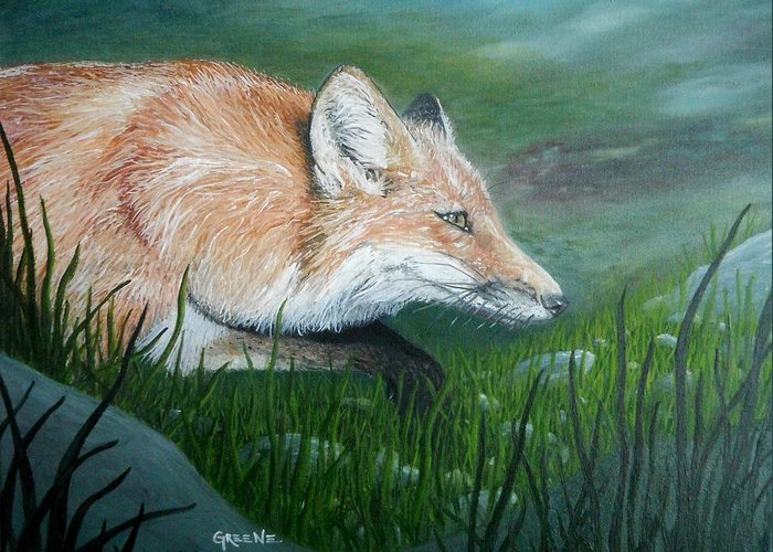 Wildlife Greeting Card featuring the painting Tod Visits Copper by CJ Greene