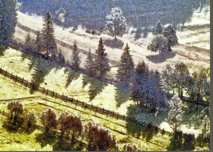Nature Greeting Card featuring the painting Transylvania Landscape by Odon Czintos