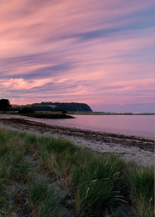 Red Greeting Card featuring the photograph Twilight After A Sunset At A Beach by Ulrich Schade