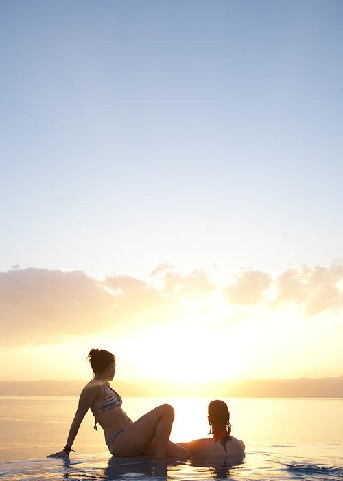 Color Image Greeting Card featuring the photograph Two Friends Enjoy The Sunset by Taylor S. Kennedy