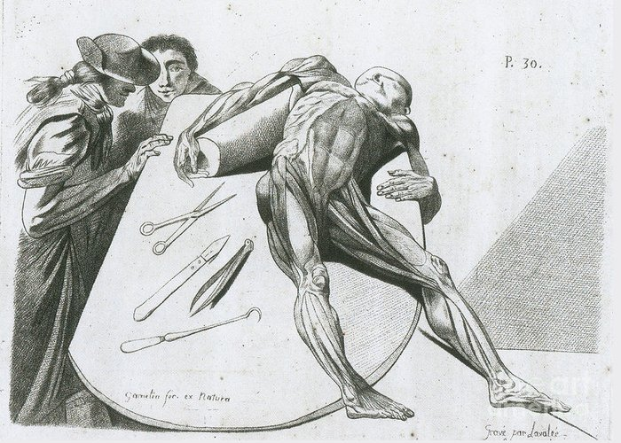 Historical Greeting Card featuring the photograph Two Gentlemen Contemplating A Cadaver by Science Source