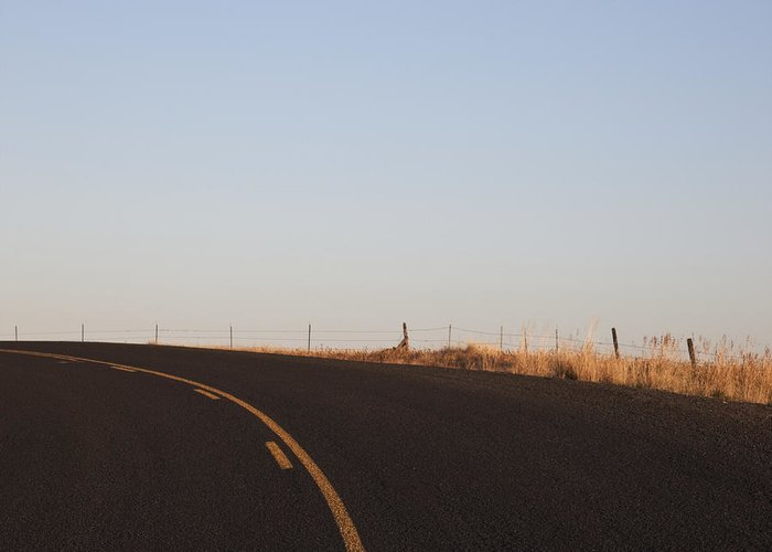 Asphalt Greeting Card featuring the photograph Two Lane Road Between Fields by Jetta Productions, Inc