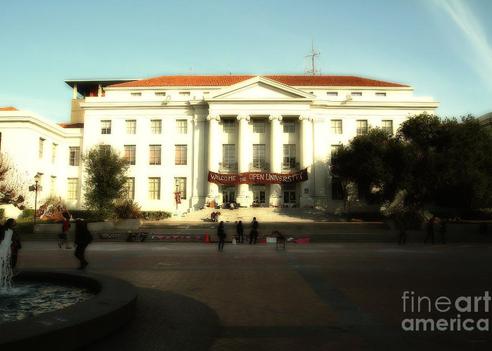 Dreamy Greeting Card featuring the photograph Uc Berkeley . Sproul Hall . Sproul Plaza . Occupy Uc Berkeley . 7d9994 by Wingsdomain Art and Photography