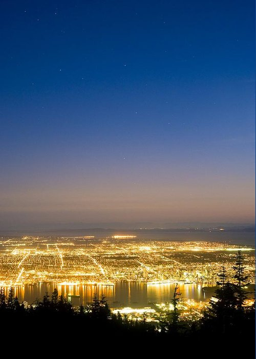 Vancouver Greeting Card featuring the photograph Vancouver At Night, Time-exposure Image by David Nunuk