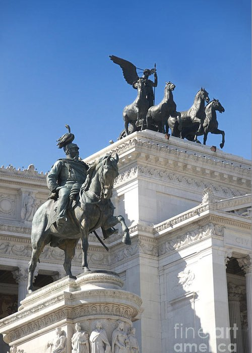 Bronze Greeting Card featuring the photograph Vittoriano. Monument To Victor Emmanuel II. Rome by Bernard Jaubert