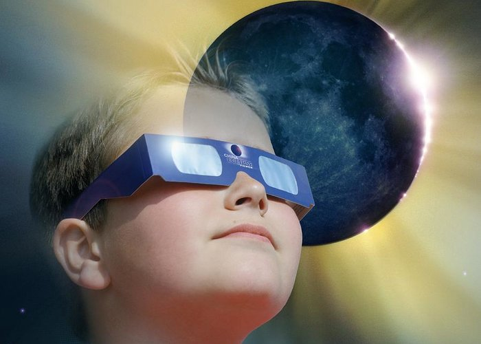 Corona Greeting Card featuring the photograph Watching Solar Eclipse by Detlev Van Ravenswaay