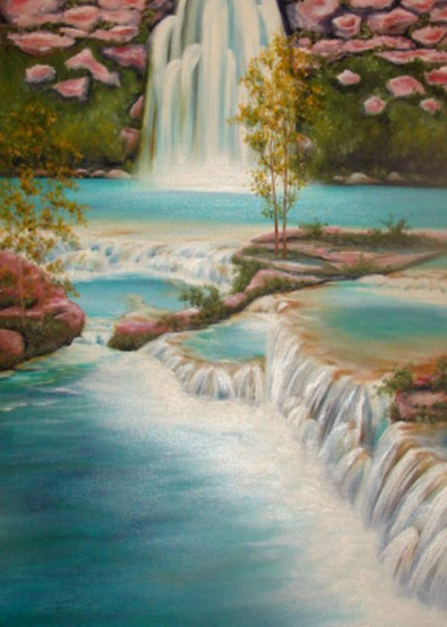 Waterfall Greeting Card featuring the painting Waterfall by Karen R Scoville