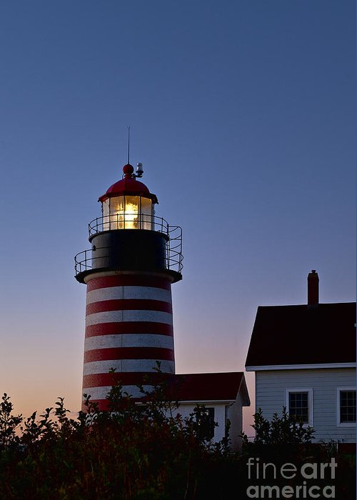 Lubec Greeting Card featuring the photograph West Quoddy Head Lighthouse by John Greim