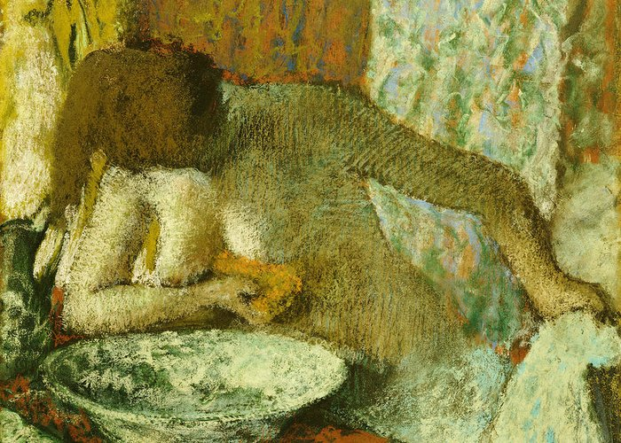 Impressionism; Impressionist; Female; Portrait; Nude; Wash; Washing; Basin; Nude Greeting Card featuring the pastel Woman At Her Toilet by Edgar Degas