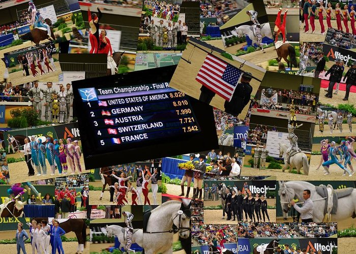 World Equestrian Games Horses Riding Acrobatic Competition Georgetown Kentucky Costumes Performances Usa Greeting Card featuring the photograph World Equestrian Games 2010 by Becky Arvin
