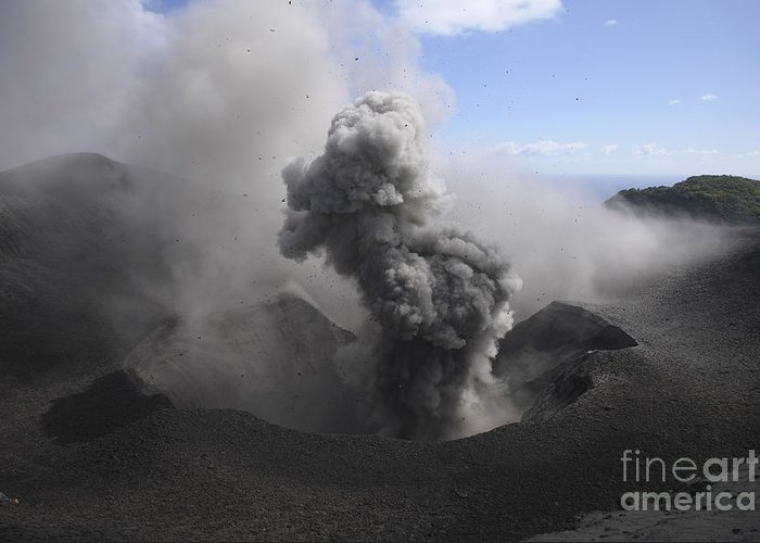No People Greeting Card featuring the photograph Yasur Eruption, Tanna Island, Vanuatu by Martin Rietze