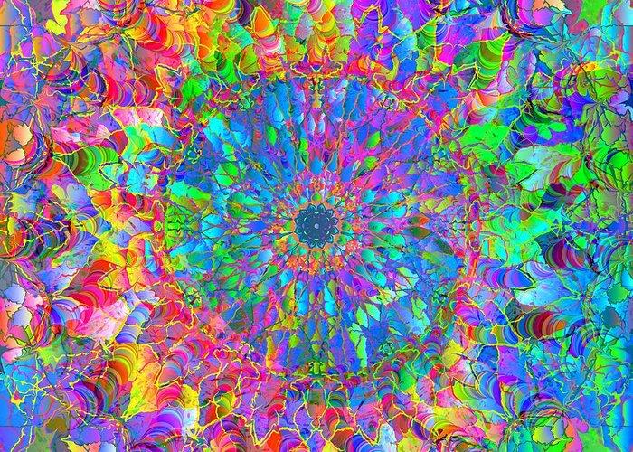 Mandala Greeting Card featuring the digital art 2012-05-15-3 by Peter Shor