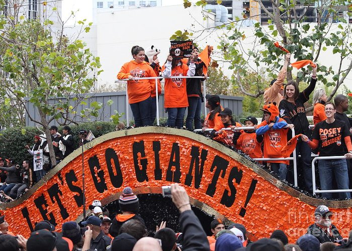 World Series Champions Greeting Card featuring the photograph 2012 San Francisco Giants World Series Champions Parade - Dpp0004 by Wingsdomain Art and Photography