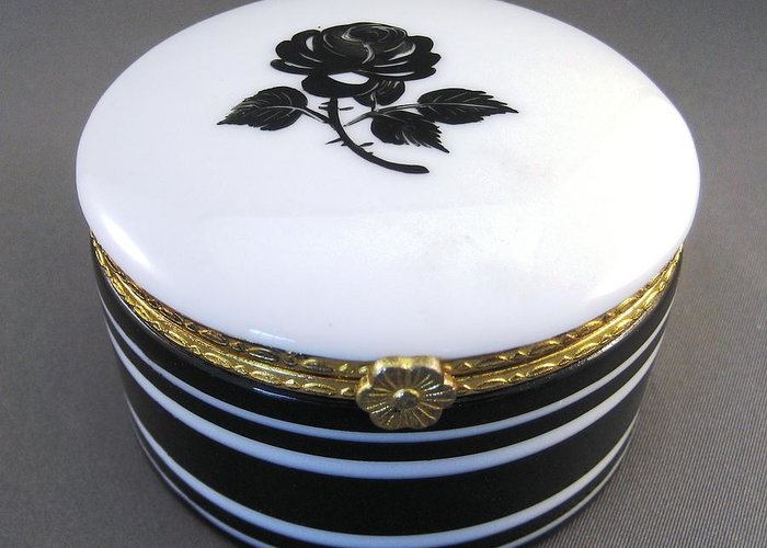 Porcelain Greeting Card featuring the ceramic art 215 Hinged Box Black Rose by Wilma Manhardt