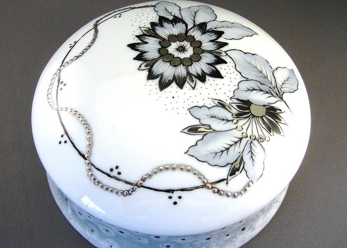 Porcelain Greeting Card featuring the ceramic art 240 Box In Black Gray And Platinum by Wilma Manhardt