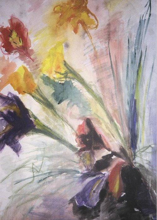 Fine Art Greeting Card featuring the painting Untitled by Iris Gill
