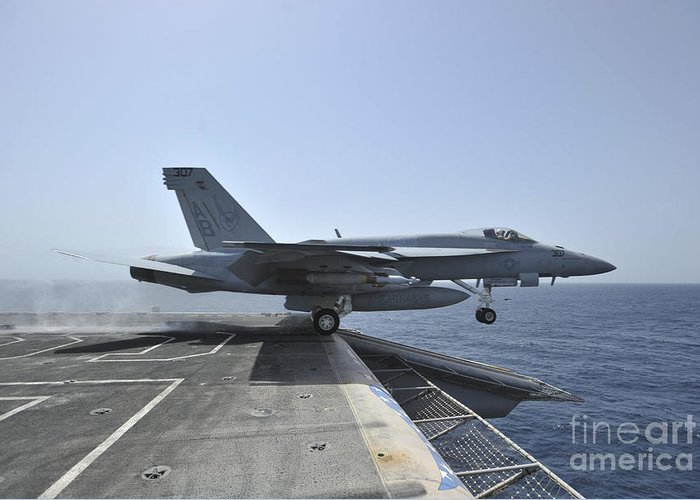F/a-18e Super Hornet Greeting Card featuring the photograph An Fa-18e Super Hornet Launches by Stocktrek Images