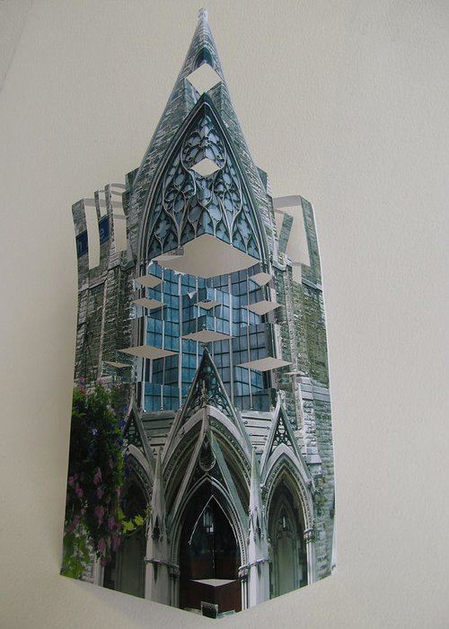 Paper Greeting Card featuring the sculpture Architecture Reconstruction by Alfred Ng
