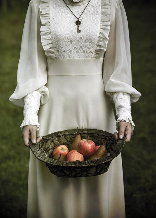 Woman Greeting Card featuring the photograph Basket With Fruits by Joana Kruse