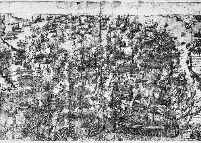 1571 Greeting Card featuring the photograph Battle Of Lepanto, 1571 by Granger