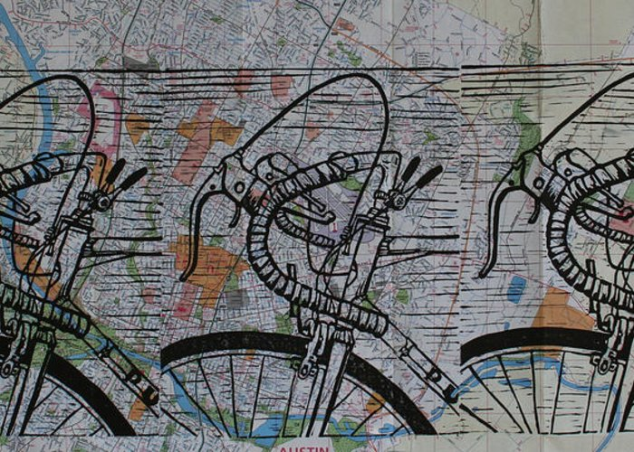 Bike Greeting Card featuring the drawing Bike 2 On Map by William Cauthern