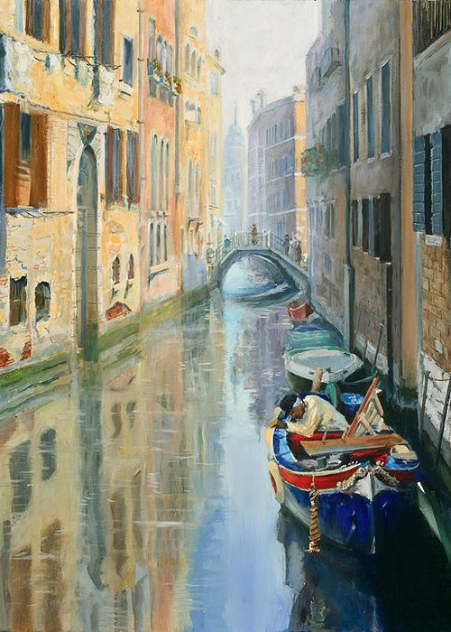 Seascape Greeting Card featuring the painting Canals Of Venice by Larisa Napoletano
