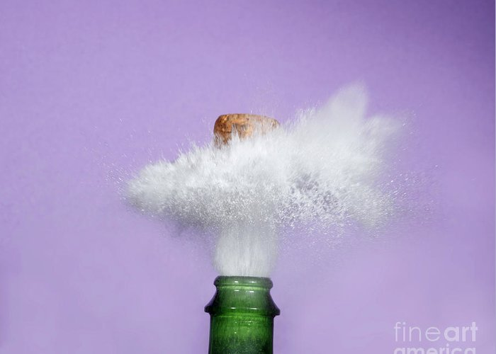Alcohol Greeting Card featuring the photograph Champagne Cork Popping by Ted Kinsman