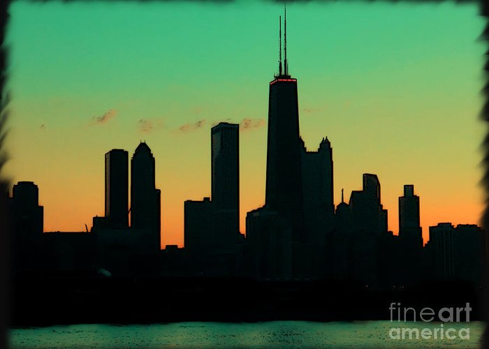 Chicago Greeting Card featuring the photograph Chicago Skyline Cartoon by Sophie Vigneault