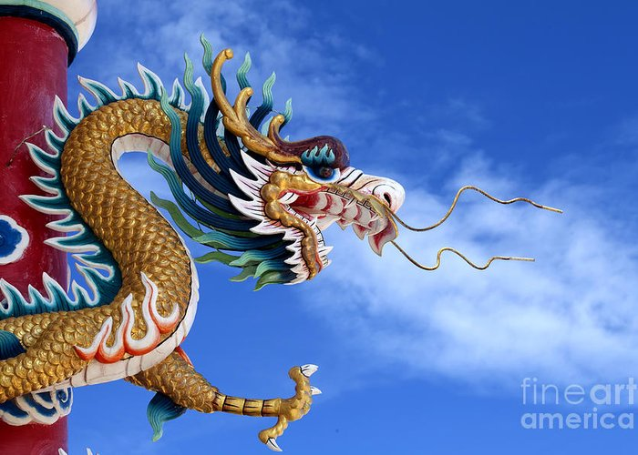 Ancient Greeting Card featuring the photograph Giant Golden Chinese Dragon by Anek Suwannaphoom
