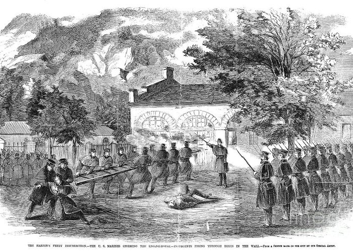 1859 Greeting Card featuring the photograph Harpers Ferry, 1859 by Granger