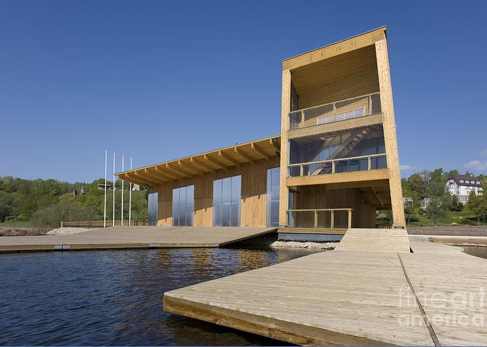 Architectural Greeting Card featuring the photograph Lakeside Building And Dock by Jaak Nilson