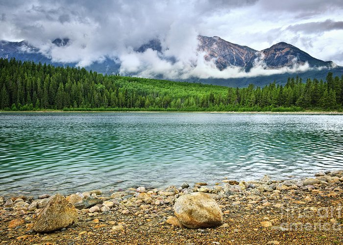 Lake Greeting Card featuring the photograph Mountain Lake In Jasper National Park by Elena Elisseeva