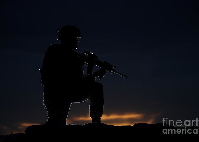 Outdoors Greeting Card featuring the photograph Partially Silhouetted U.s. Marine by Terry Moore