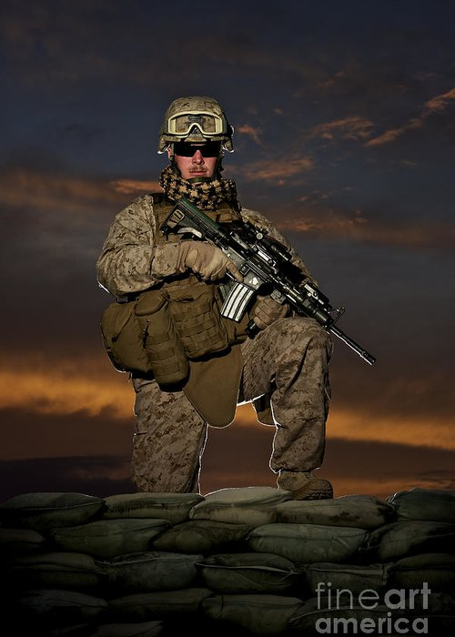 M16 Greeting Card featuring the photograph Portrait Of A U.s. Marine In Uniform by Terry Moore