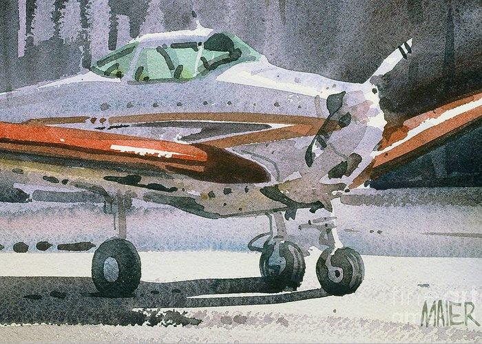 Plein Air Greeting Card featuring the painting Private Plane by Donald Maier