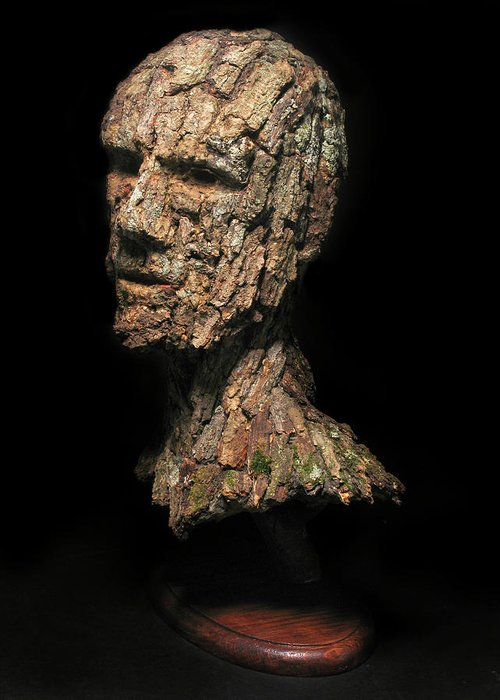 Groot Greeting Card featuring the sculpture Revered A Natural Portrait Bust Sculpture By Adam Long by Adam Long