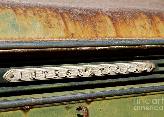 Car Greeting Card featuring the photograph Rusted Antique International Car Brand Ornament by ELITE IMAGE photography By Chad McDermott