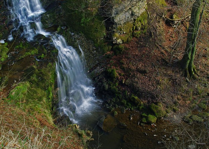 Waterfall Greeting Card featuring the photograph Scaleber Force by Steve Watson