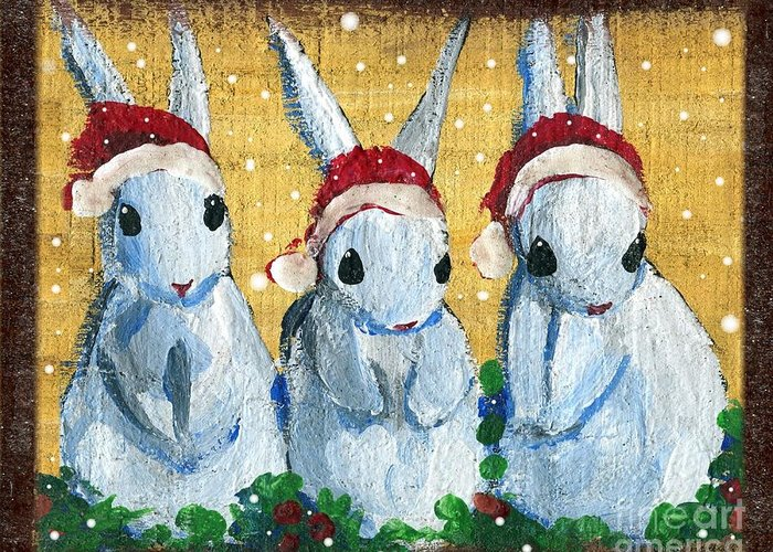 Santa Claus Greeting Card featuring the painting 3 Shy Santa Bunnies by Sylvia Pimental