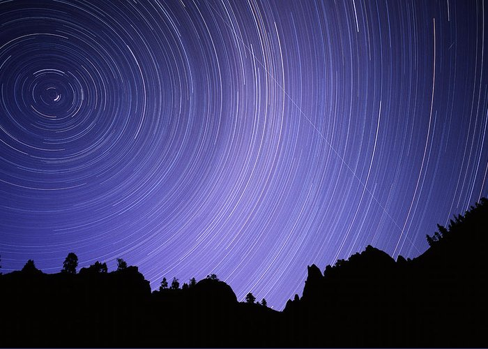 North Star Greeting Card featuring the photograph Star Trails by Kaj R. Svensson