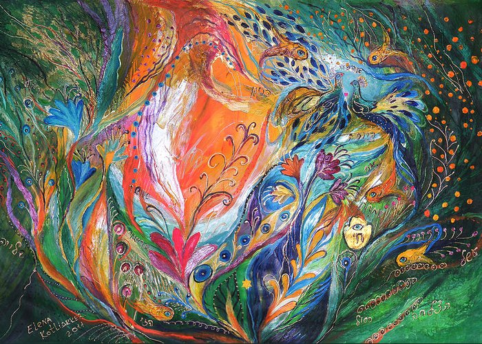 Original Greeting Card featuring the painting The Glade by Elena Kotliarker