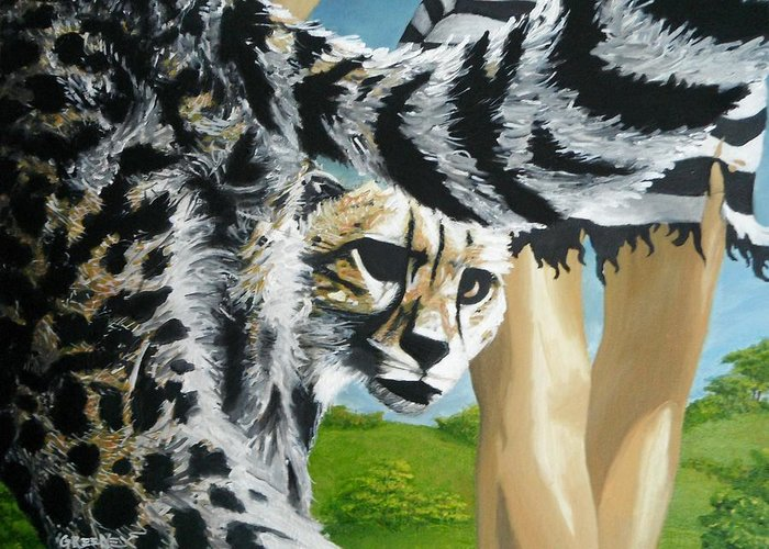 Cheetah Greeting Card featuring the painting The Travelers by CJ Greene