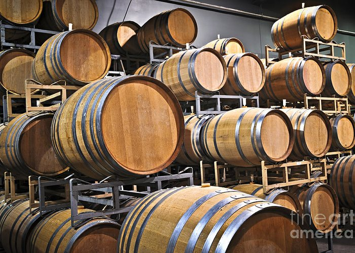 Barrels Greeting Card featuring the photograph Wine Barrels by Elena Elisseeva