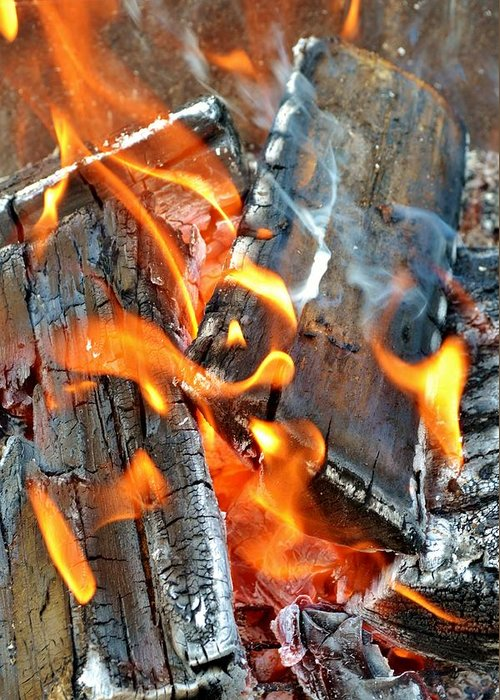 Hot; Wood; Fire; Summer; Barbecue; Red; Orange; Steak; Hamburger; Garden; Food; Family; Friends; Warm; Winter; Cosy; Decorative; Background; Braai; Greeting Card featuring the photograph Wood Fire by Werner Lehmann