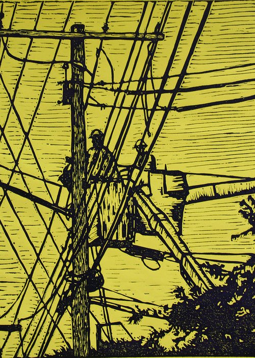 Powerlines Greeting Card featuring the drawing Working On Lines by William Cauthern