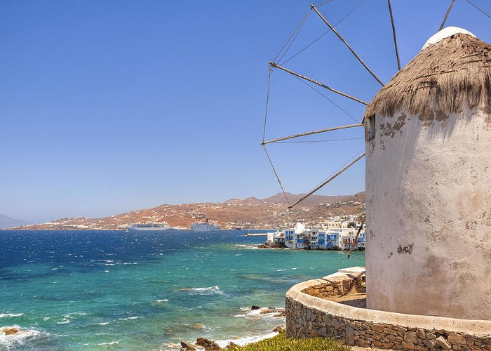Windmills Greeting Card featuring the photograph Mykonos by Joana Kruse