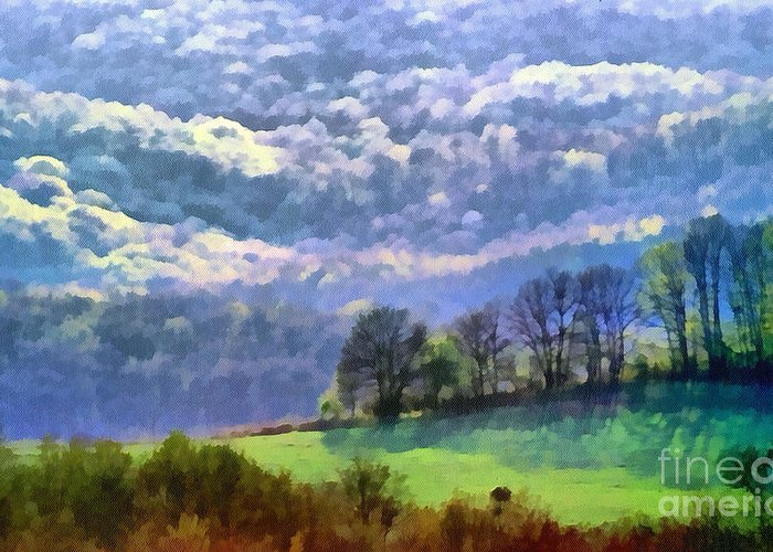 Odon Greeting Card featuring the painting Landscape by Odon Czintos